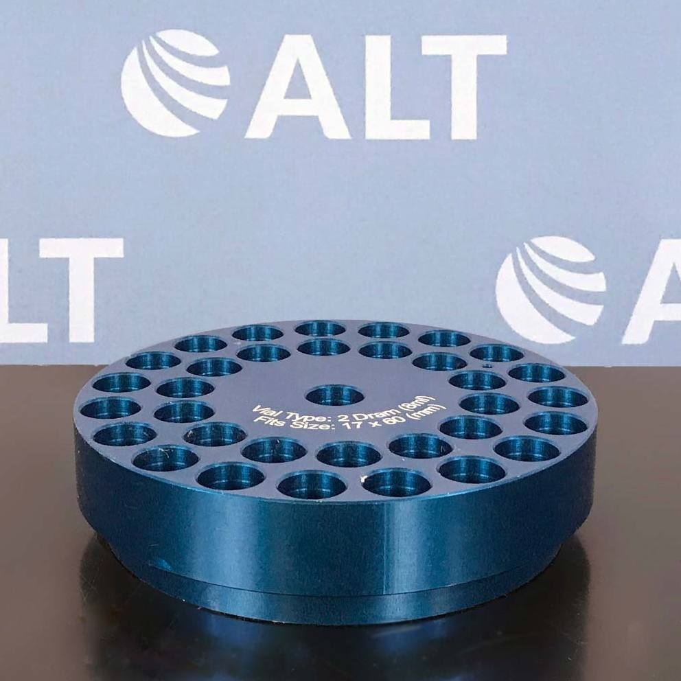 Chemglass Reaction Block, 2 Dram (8mL) Vial, 17mm x 60mm, Blue, 34 Position, 25mm Hole Depth Image