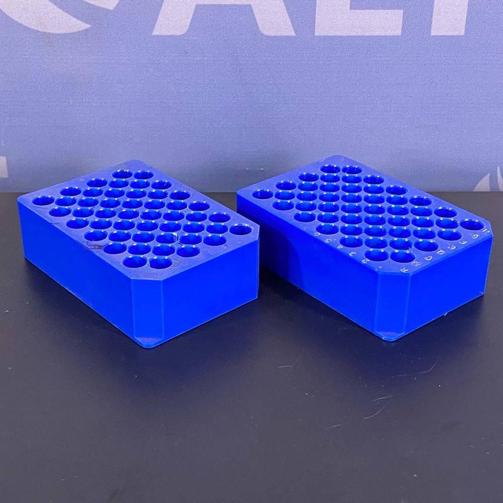 Mettler Toledo 48 Position 12x75 and 12x100 mm MiniBlock Racks P/N 13260399 (Set of 2 Blue) Image