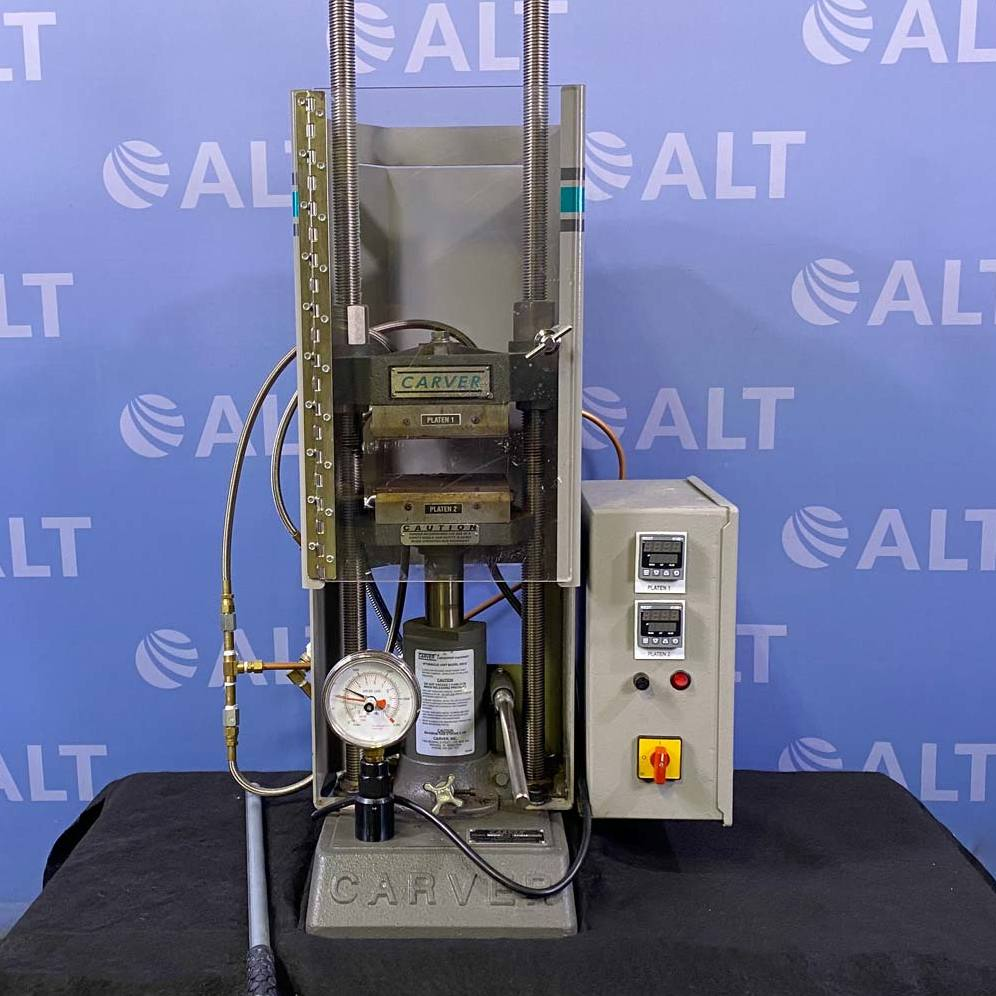 Carver 12 Ton Hydraulic Laboratory Press, Model 3851-0, With Safety Shield And Heated Platens Image